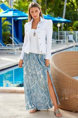 paisley border print maxi skirt