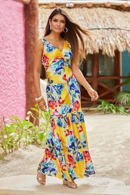 charm floral statement maxi dress