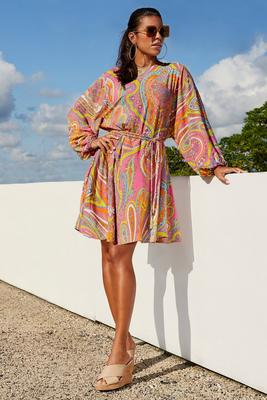 Printed Blouson Boho Dress