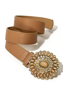 natural embellished buckle belt