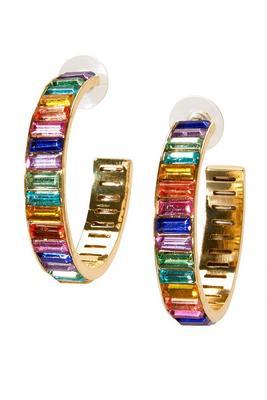 colorful gem hoop earring