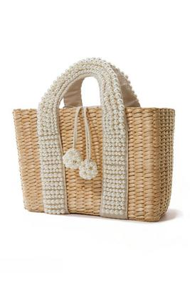 Pearl Embellished Straw Bag