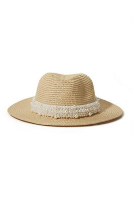 pearl embellished band straw hat