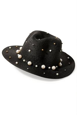 pearl and rhinestone embellished hat