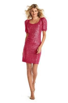 Puff-Sleeve Sequin Dress