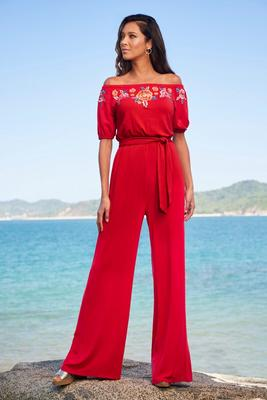 Embroidered Off-The-Shoulder Tie-Waist Jumpsuit