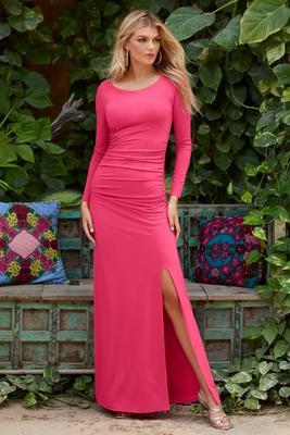 Long-Sleeve Slit Maxi Dress