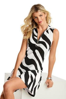 Zebra Print Collared Zip Dress
