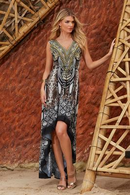Python Print High-Low Embellished Dress