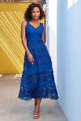 mixed media lace pom-pom dress