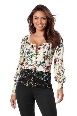 Floral Border Puff-Sleeve Cardigan