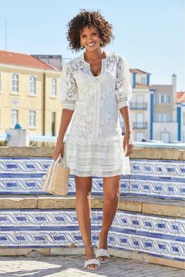 lace ruffle flounce dress