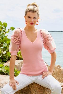 Crochet Puff-Sleeve V-Neck Sweater
