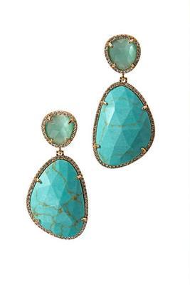 turquoise stone embellished earring