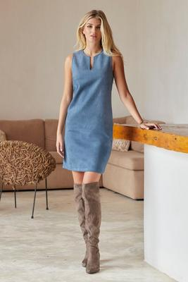 faux-suede sleeveless shift dress