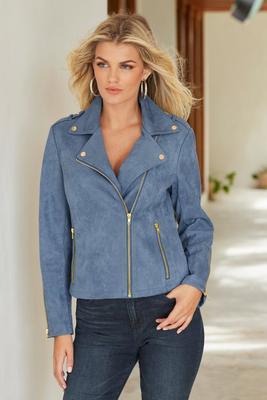 Faux-Suede Zip Front Moto Jacket