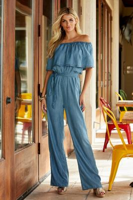 Tencel Off-The-Shoulder Jumpsuit
