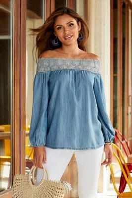 Off-The-Shoulder Lace Detail Tencel Top