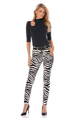 slim ankle zebra jean