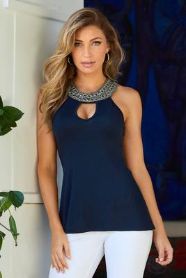 beaded neckline drapey tank top