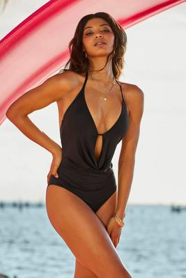 Drape-Front Plunge One-Piece Swimsuit