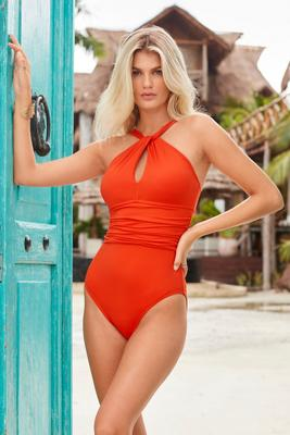 high-neck keyhole mio one-piece swimsuit