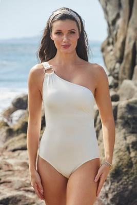 Ring Detail One-Shoulder One-Piece Swimsuit