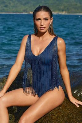 v-neck embellished fringe one-piece swimsuit