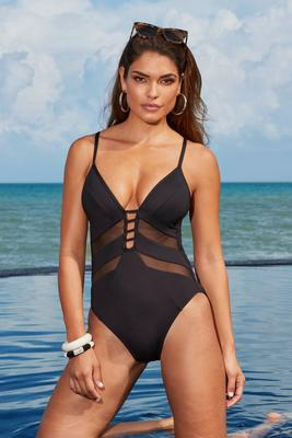 Mesh Inset Plunging One-Piece Swimsuit