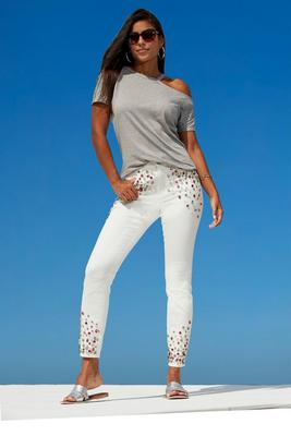 Allover Pink Embellished Ankle Jean