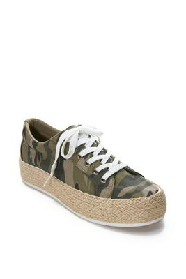Camo Straw Lace-Up Sneaker