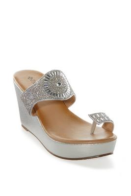 Embellished Toe-Ring Wedge Sandal
