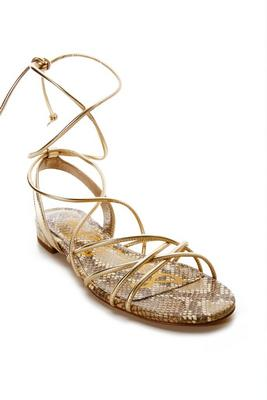 Metallic Lace-Up Sandal