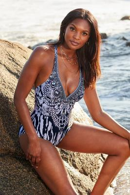 Jewel Print V-Neck One-Piece Swimsuit