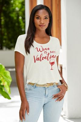 wine is my valentine short sleeve tee