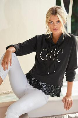 Display product reviews for Chic Lace Trim Hoodie