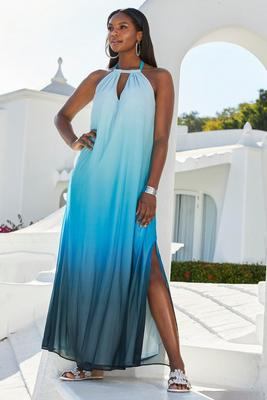 Ombre Fringe High-Neck Maxi Dress