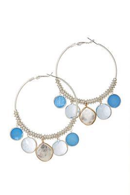 Blue Drop Hoop Earrings
