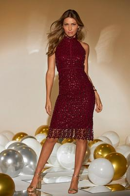 Sequin Lace High Mock-Neck Sheath Dress