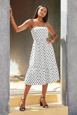 Polka-Dot Strapless Fit & Flare Dress