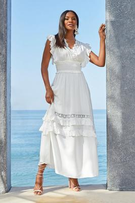 Smocked Tiered Ruffle Lace Maxi Dress