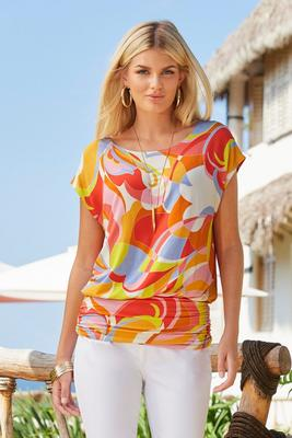 Display product reviews for Abstract Print Cap-Sleeve Blouson Top