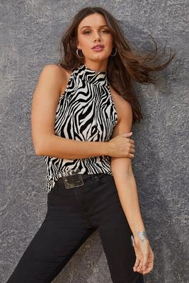 Zebra Print Mock-Neck Tank Top
