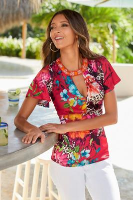 Display product reviews for Embellished Keyhole Tropical Print Top