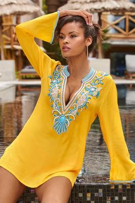Embellished V-Neck Resort Tunic Top
