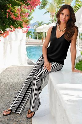 Beyond Travel Assorted Stripe High-Rise Palazzo Pant