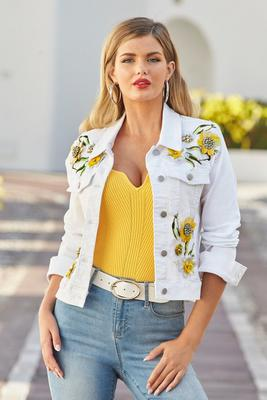 3D Embellished Daisy Denim Jacket