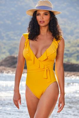 Ruffle Surplice One-Piece Swimsuit