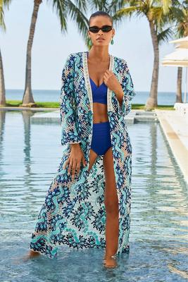 Two-Tone Lace Embellished Duster