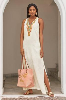 Linen Embellished Maxi Dress